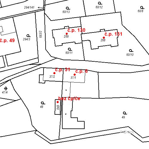 Katastrální mapa Stavební objekt Osnice 6, Jesenice