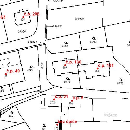 Katastrální mapa Stavební objekt Osnice 130, Jesenice
