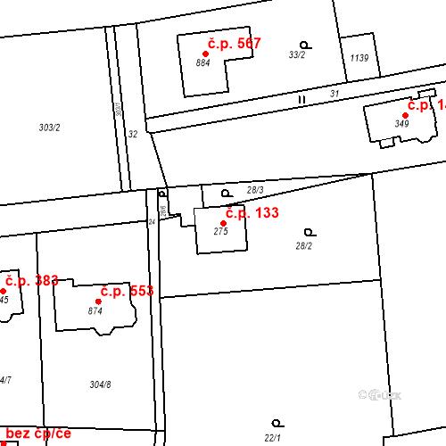 Katastrální mapa Stavební objekt Osnice 133, Jesenice