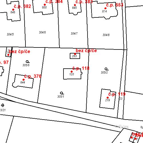 Katastrální mapa Stavební objekt Osnice 118, Jesenice