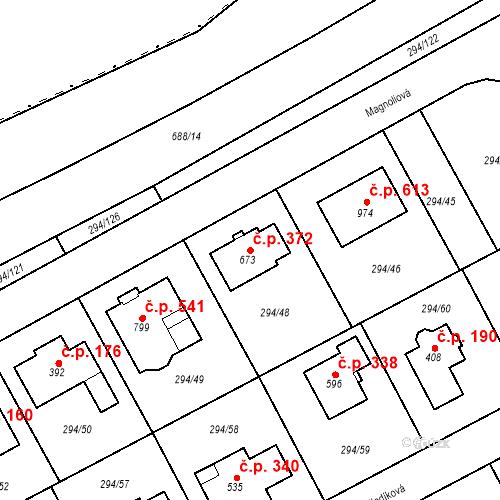 Katastrální mapa Stavební objekt Osnice 372, Jesenice