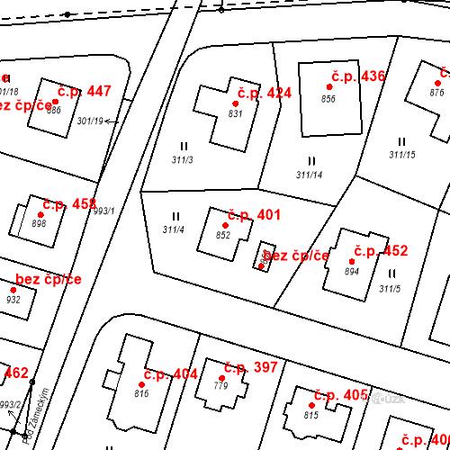 Katastrální mapa Stavební objekt Nové Hrady 401, Nové Hrady