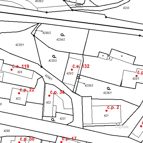 Katastrální mapa Stavební objekt Chrást nad Sázavou 132, Týnec nad Sázavou