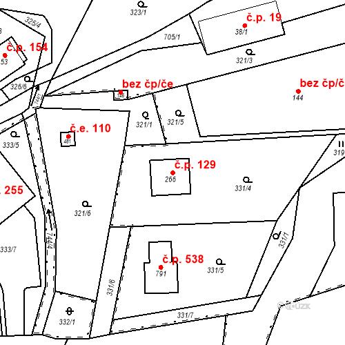 Katastrální mapa Stavební objekt Osnice 129, Jesenice