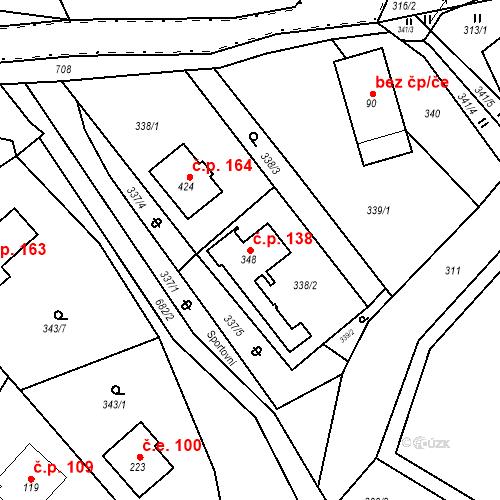 Katastrální mapa Stavební objekt Osnice 138, Jesenice
