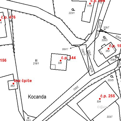 Katastrální mapa Stavební objekt Osnice 144, Jesenice