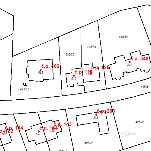 Katastrální mapa Stavební objekt Zdiměřice 114, Jesenice