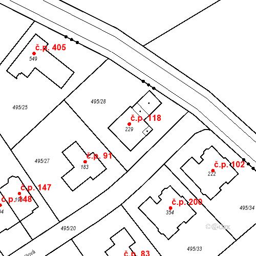 Katastrální mapa Stavební objekt Zdiměřice 118, Jesenice