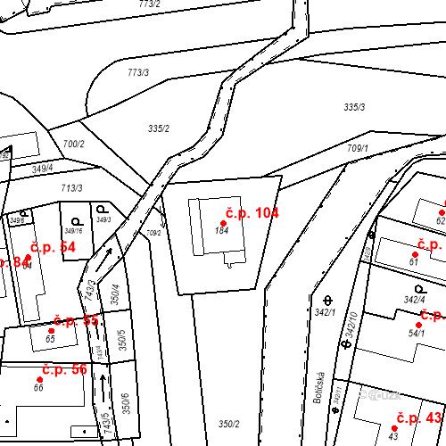 Katastrální mapa Stavební objekt Osnice 104, Jesenice