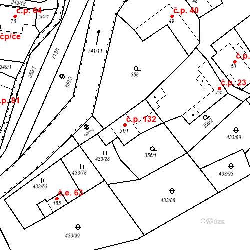Katastrální mapa Stavební objekt Osnice 132, Jesenice