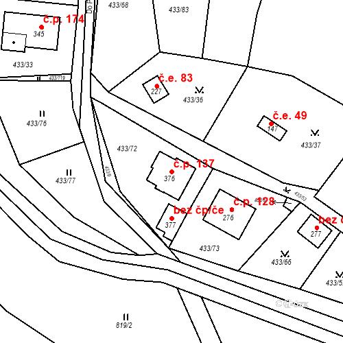 Katastrální mapa Stavební objekt Osnice 137, Jesenice