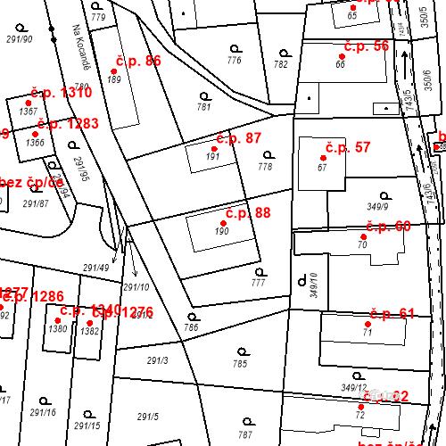 Katastrální mapa Stavební objekt Osnice 88, Jesenice