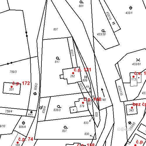 Katastrální mapa Stavební objekt Osnice 121, Jesenice