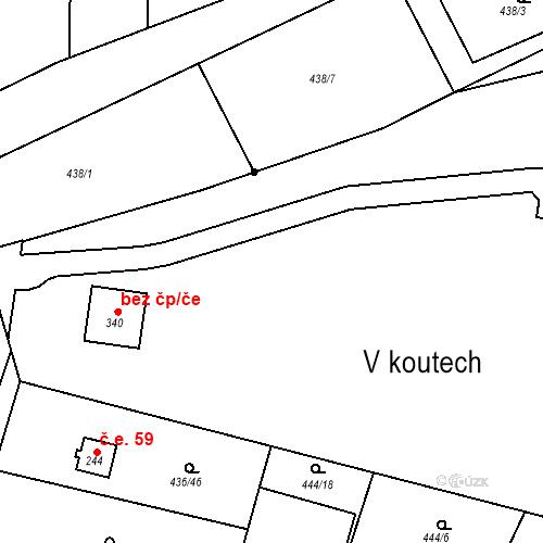 Katastrální mapa Stavební objekt Osnice 139, Jesenice