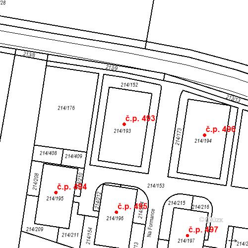 Katastrální mapa Stavební objekt Újezd u Průhonic 493, Praha