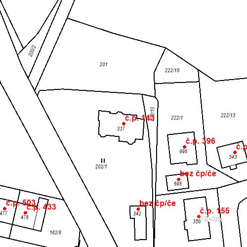 Katastrální mapa Stavební objekt Osnice 143, Jesenice