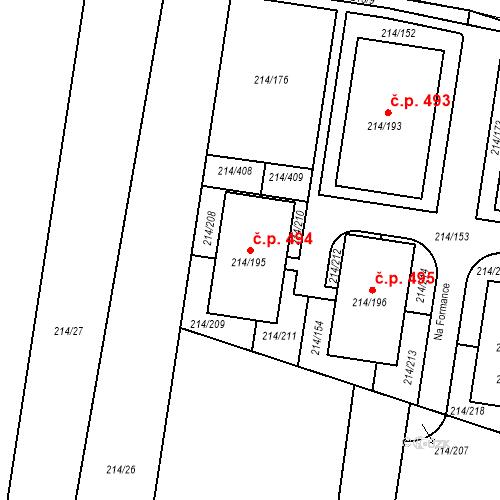 Katastrální mapa Stavební objekt Újezd u Průhonic 494, Praha