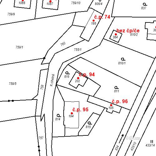 Katastrální mapa Stavební objekt Osnice 94, Jesenice