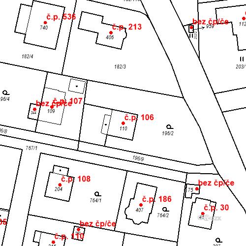 Katastrální mapa Stavební objekt Osnice 106, Jesenice