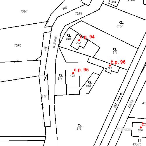 Katastrální mapa Stavební objekt Osnice 95, Jesenice