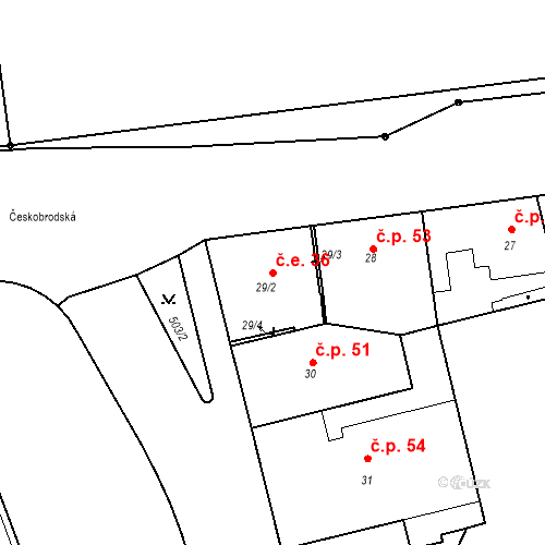 Katastrální mapa Stavební objekt Hrdlořezy 36, Praha
