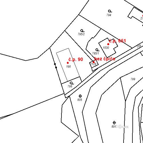 Katastrální mapa Stavební objekt Osnice 90, Jesenice