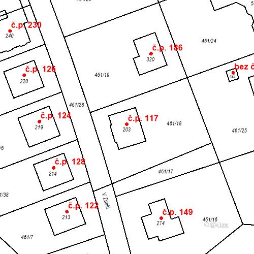 Katastrální mapa Stavební objekt Zdiměřice 117, Jesenice