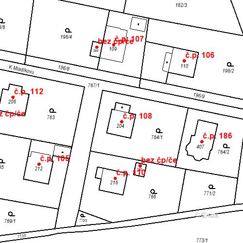 Katastrální mapa Stavební objekt Osnice 108, Jesenice