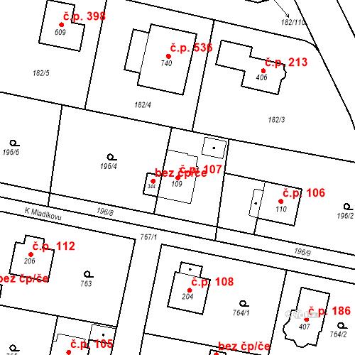 Katastrální mapa Stavební objekt Osnice 107, Jesenice