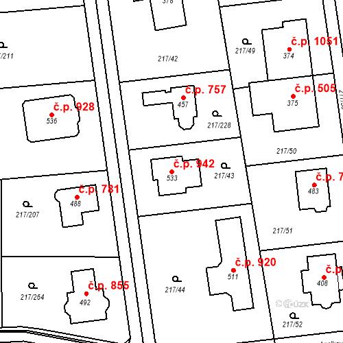 Katastrální mapa Stavební objekt Horní Jirčany 942, Jesenice