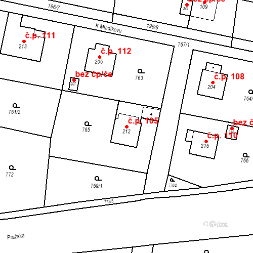 Katastrální mapa Stavební objekt Osnice 105, Jesenice