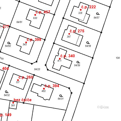 Katastrální mapa Stavební objekt Předboj 340, Předboj