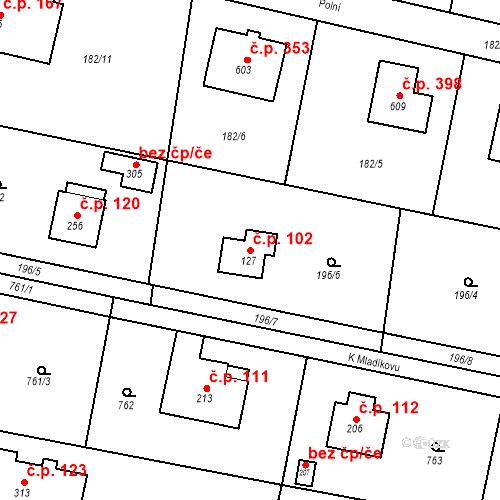 Katastrální mapa Stavební objekt Osnice 102, Jesenice