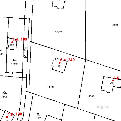Katastrální mapa Stavební objekt Krhanice 240, Krhanice