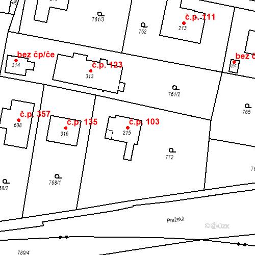 Katastrální mapa Stavební objekt Osnice 103, Jesenice