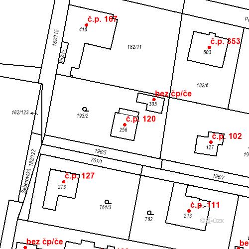 Katastrální mapa Stavební objekt Osnice 120, Jesenice