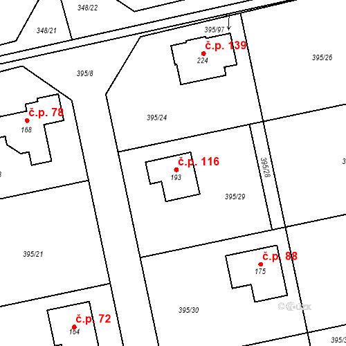 Katastrální mapa Stavební objekt Zdiměřice 116, Jesenice