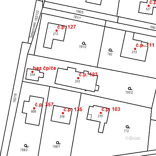 Katastrální mapa Stavební objekt Osnice 123, Jesenice