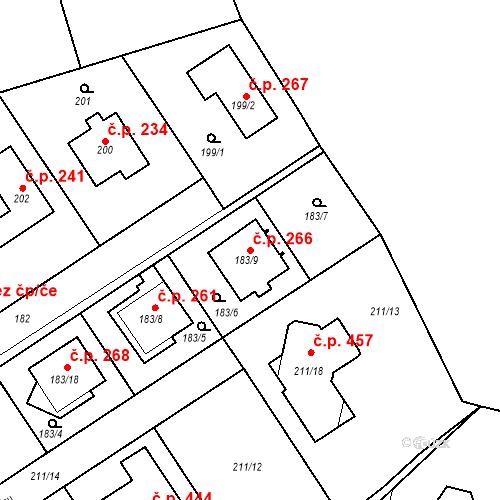 Katastrální mapa Stavební objekt Újezd u Průhonic 266, Praha