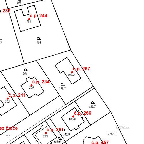 Katastrální mapa Stavební objekt Újezd u Průhonic 267, Praha