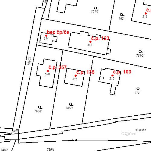 Katastrální mapa Stavební objekt Osnice 135, Jesenice