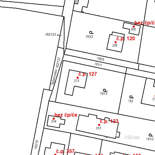 Katastrální mapa Stavební objekt Osnice 127, Jesenice
