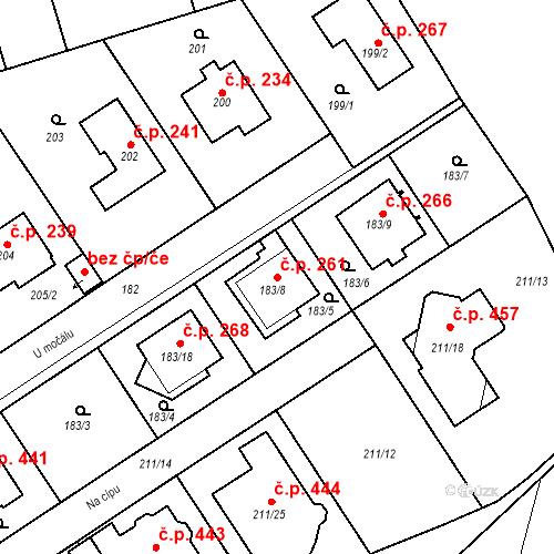 Katastrální mapa Stavební objekt Újezd u Průhonic 261, Praha