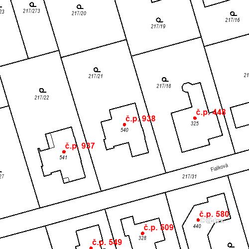 Katastrální mapa Stavební objekt Horní Jirčany 938, Jesenice