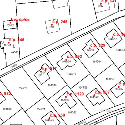 Katastrální mapa Stavební objekt Ďáblice 992, Praha