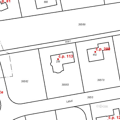 Katastrální mapa Stavební objekt Zdiměřice 113, Jesenice
