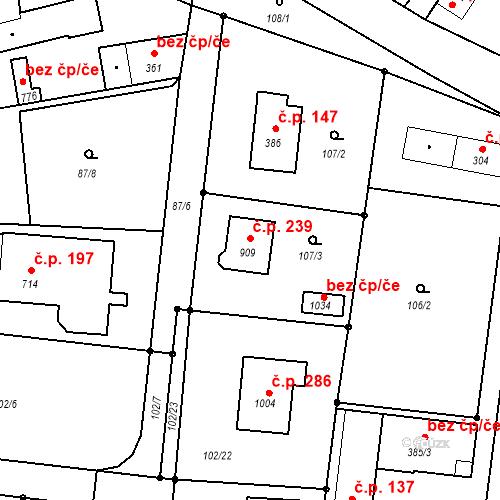 Katastrální mapa Stavební objekt Krhanice 239, Krhanice