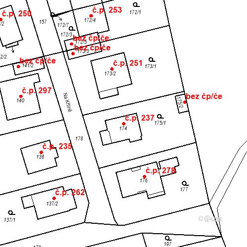 Katastrální mapa Stavební objekt Újezd u Průhonic 237, Praha