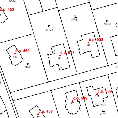 Katastrální mapa Stavební objekt Horní Jirčany 937, Jesenice