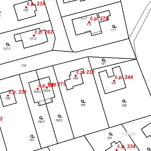 Katastrální mapa Stavební objekt Újezd u Průhonic 232, Praha